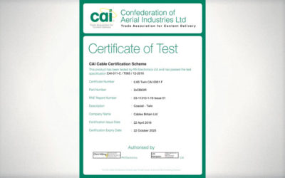 CAI re-certification for our Twin Digital Satellite Coaxial Cable!